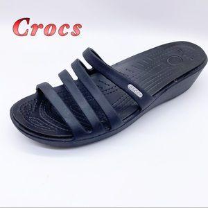 Crocs-Black Strappy Comfort Wedge Sandal 10